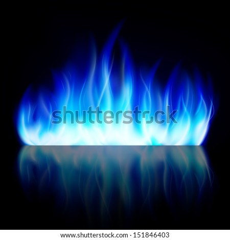 Blue fire. Hot bonfire background. - stock photo