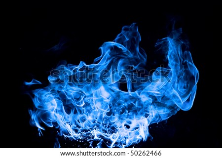blue fire on black background - stock photo