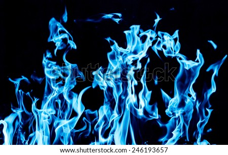 blue flame fire on black background - stock photo