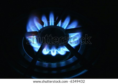 Blue flame of natural gas stove burner.  It can symbolize energy, cooking, power, the environment, global warming and more. - stock photo