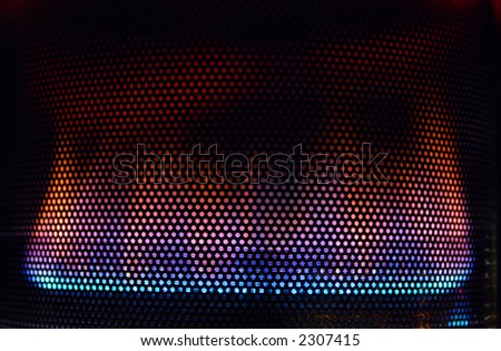 Blue flame on gas heater - stock photo