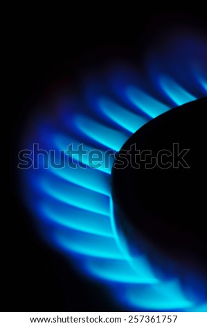 Blue flames of gas burning - stock photo
