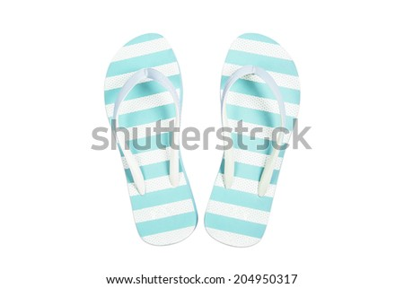 Blue flip flop sandals beach shoes isolated on white background. - stock photo