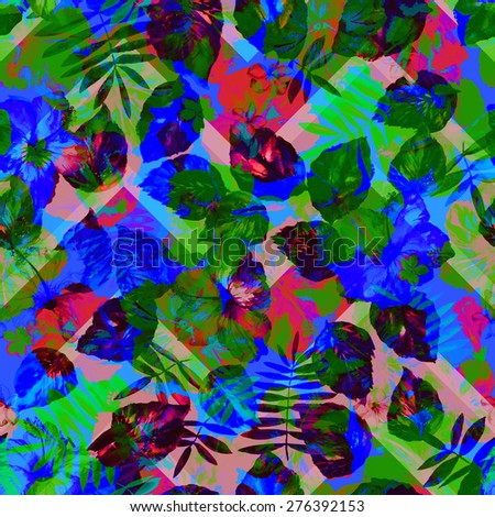 Blue floral abstract background on a zigzag backdrop. Hibiscus flowers layering on a blue green colors - stock photo