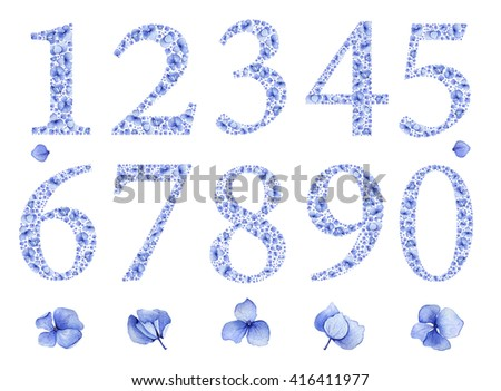 Blue floral watercolor hydrangea numbers set. Birthday anniversary figures 1, 2, 3,4,5,6,7,8,9,0 & flowers. Baby boy or girl party invitation card template or wedding table setting  number decoration. - stock photo
