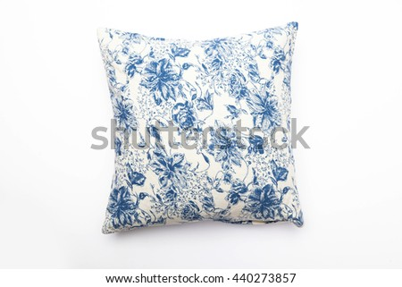 blue flower pattern pillow on white background - stock photo