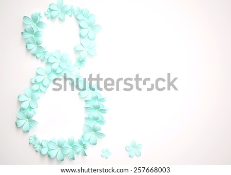 Blue flowers in the form of eight on a white background . Women's Day March 8 - stock photo
