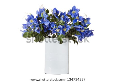 blue flowers in vase isolated on white - stock photo