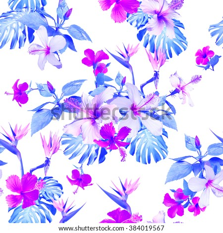 Blue flowers pattern seamless. Clip art - photo collage. Beautiful artistic tropical flowers for floral design. - stock photo