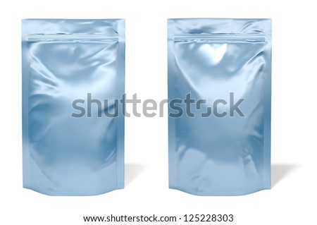 Blue foil bag package isolated on white background - stock photo