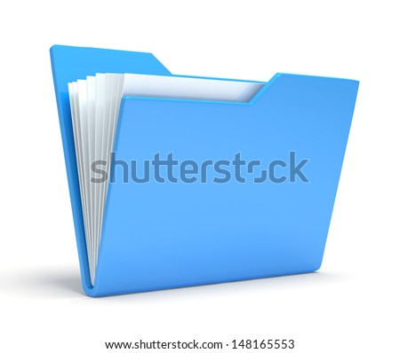 Blue folder.  Isolated on white background - stock photo