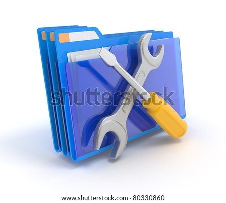 Blue folder with tools isolated on white. 3d illustration - stock photo