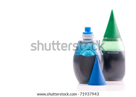 Blue Food Coloring with custom space for text - stock photo