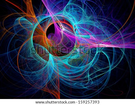Blue fractal  background - stock photo