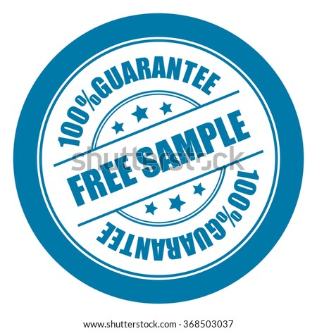Blue Free Sample 100% Guarantee Campaign Promotion, Product Label, Infographics Flat Icon, Sign, Sticker Isolated on White Background  - stock photo