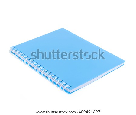 blue front cover notebook isolated on white background - stock photo