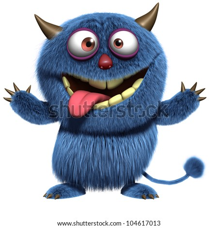 blue furry alien - stock photo