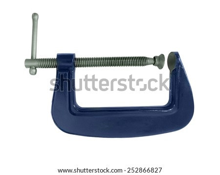 Blue G clamp isolated on a white background - stock photo