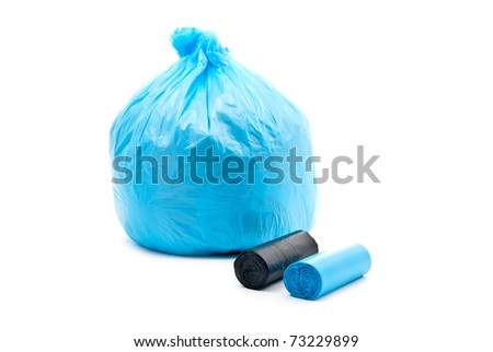 Blue garbage bag	 isolated on a white background. - stock photo