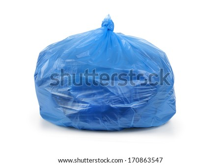 blue garbage bag with trash isolated on white  - stock photo