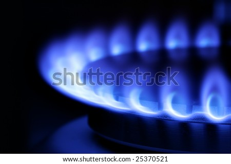 Blue gas flame on hob close up in the dark - stock photo