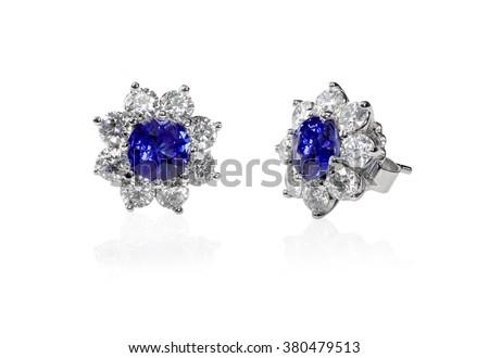 Blue Gemstone and diamond stud earrings. Genuine Fine Jewelry - stock photo