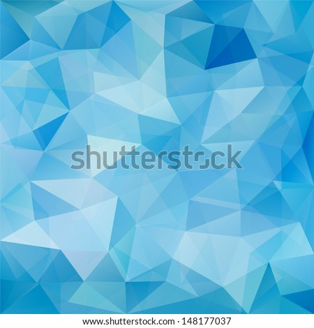 Blue geometric pattern, triangles background, polygonal design.  - stock photo