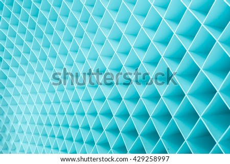 Blue geometric wall facade background - stock photo