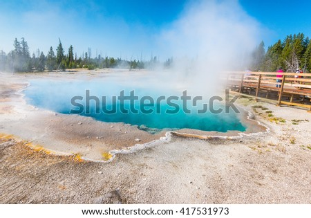 Blue Geyser Pool at Yellowstone Lake in Yellowstone National park,Wyoming.usa. - stock photo