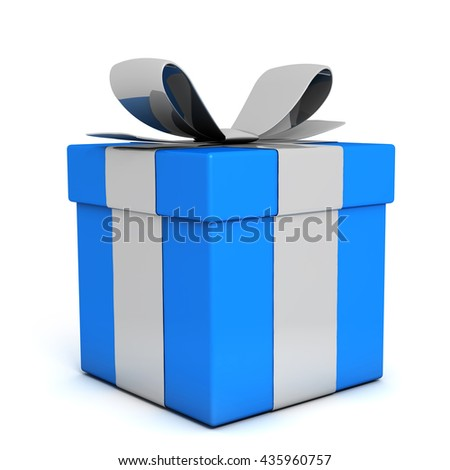 Blue gift box 3D render - stock photo
