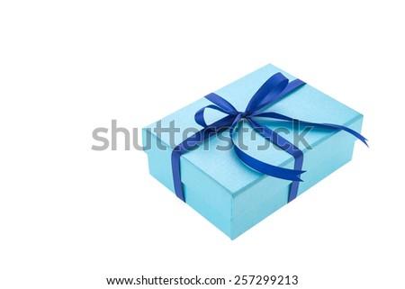 blue gift box isolated on white background - stock photo