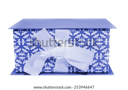 blue gift box with  lid and bow on a white background - stock photo