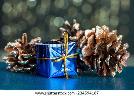 blue gift box with pinecone - stock photo
