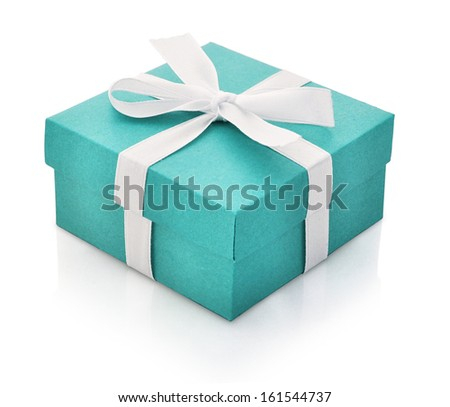 Blue gift box with white ribbon isolated on white background. Clipping path included. - stock photo