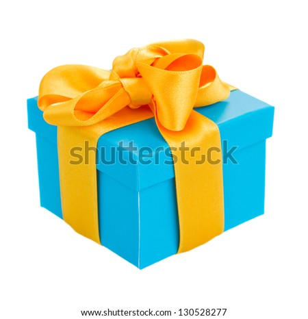 blue  gift box with yellow ribbon isolated om white background - stock photo