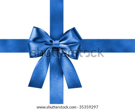 blue gift satin ribbon bow on white background - stock photo