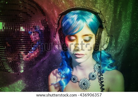 blue girl ready to party - stock photo