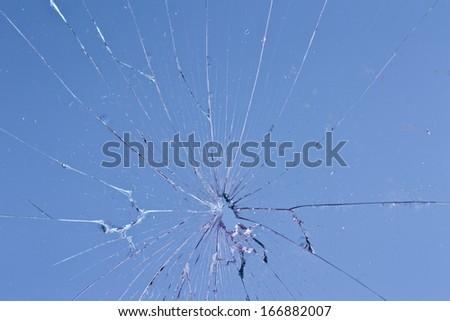 blue glass broken - stock photo