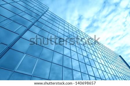 Blue glass building - stock photo