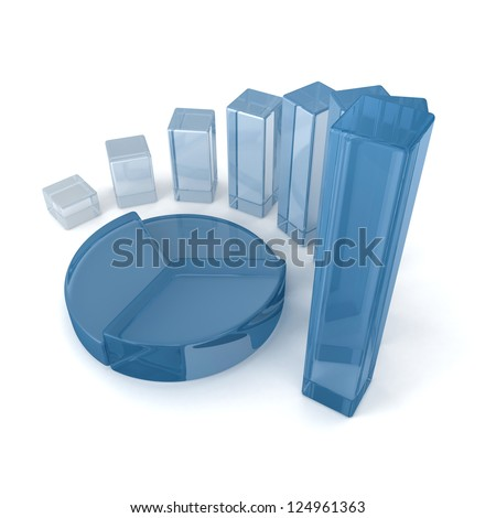 Blue Glass Diagram Pie Chart and Bar Charts Business Concept - stock photo