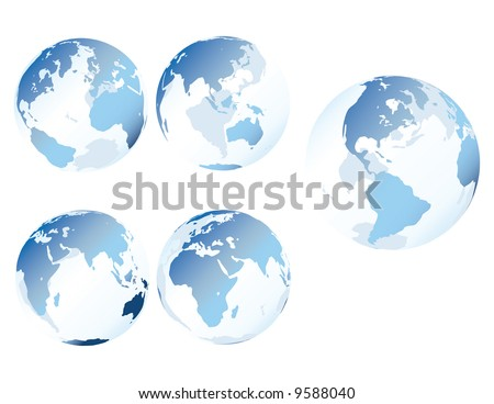 Blue glass earth - Multiple views of see-through, glass-like earth - stock photo