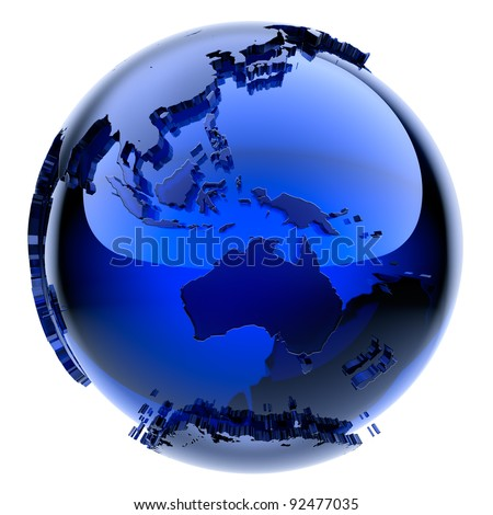Blue glass globe with frosted continents a little stand out from the water surface - stock photo
