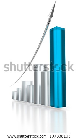 Blue glass graph and silver up arrow. - stock photo