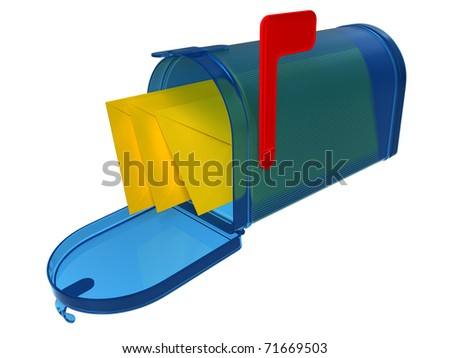 Blue glass mailbox and yellow mails inside - stock photo