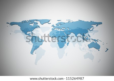 Blue glass map of the world - stock photo