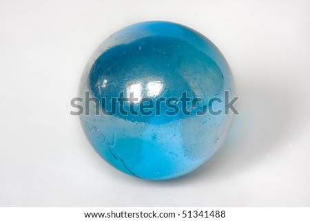 Blue glass marble. - stock photo