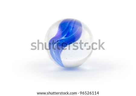 Blue glass marble isolated on white - stock photo