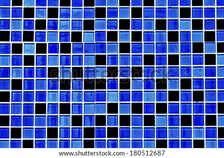 Blue glass mosaic in the bathroom - stock photo
