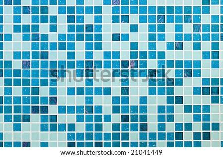 Blue glass mosaic texture background - stock photo
