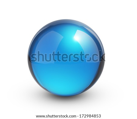 Blue glass sphere  - stock photo